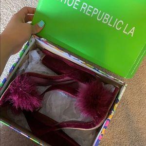 Furry Maroon Heels by Shoe Republic